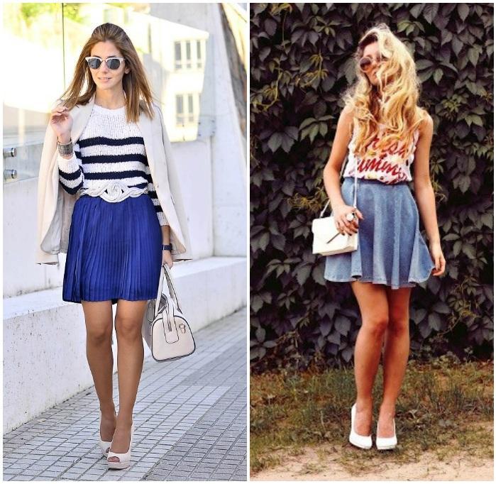 Образ +-с белыми туфлями и короткими юбками