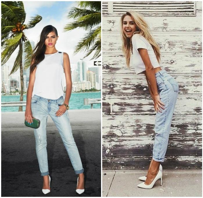 Сочетание белого топа, джинс и белых туфель