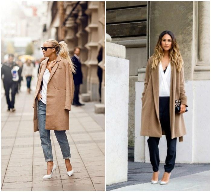 Белые туфли и пальто