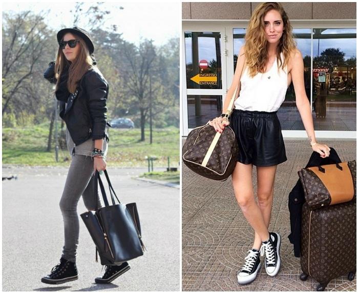 Сочетание черных кед с вместительными сумками