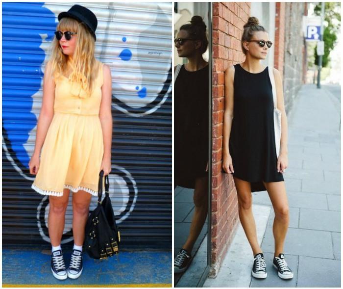 Образ с платьем и черными кедами