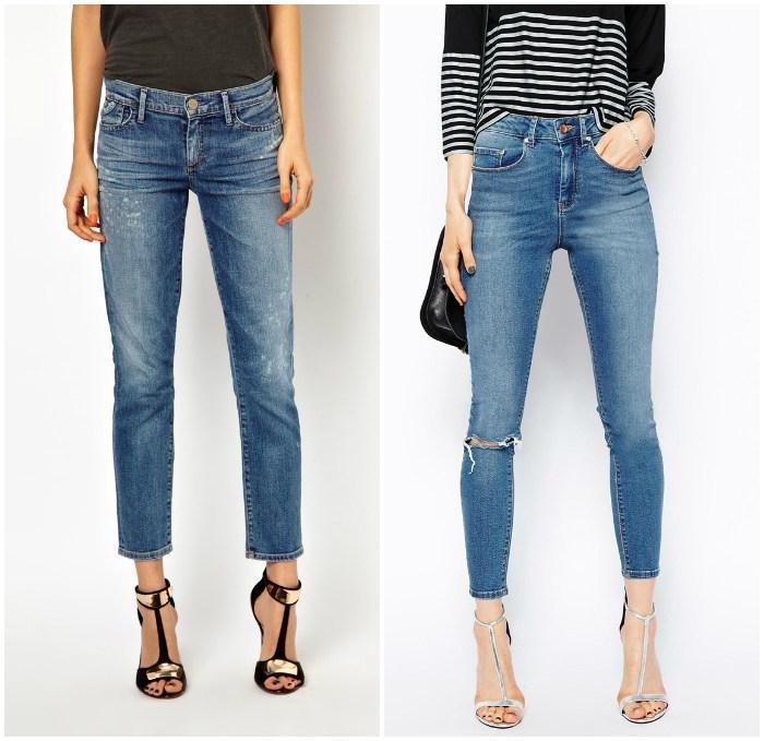 Сочетание укороченных джинс с босоножками