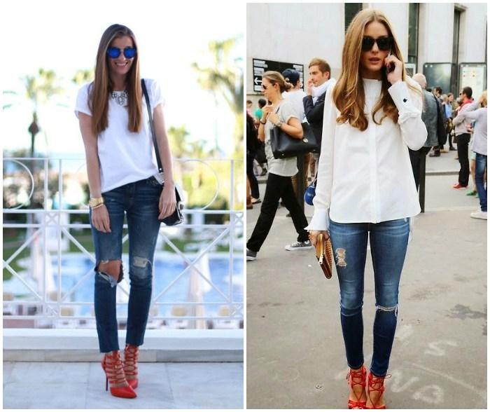 Образ с красными босоножками, джинсами и белым верхом