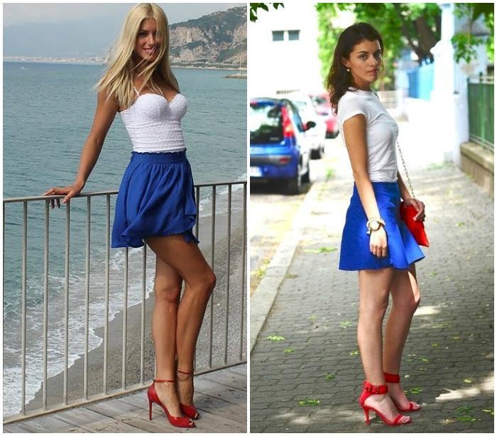 Белый топ, синяя юбка и красные босоножки на моделях