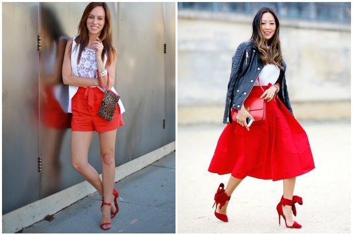 Красные босоножки с красным низом в одежде