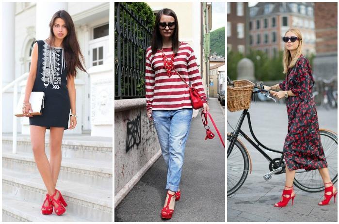 Стильные образы с красными босоножками
