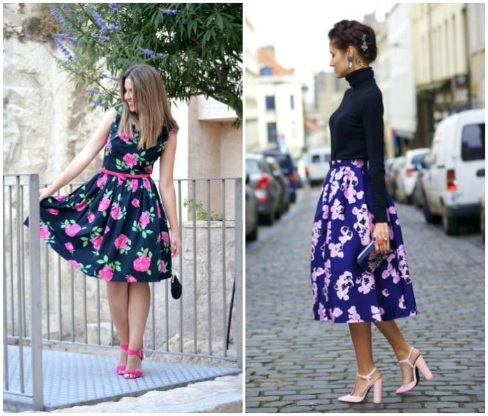 Розовые туфли и цветастый принт на одежде