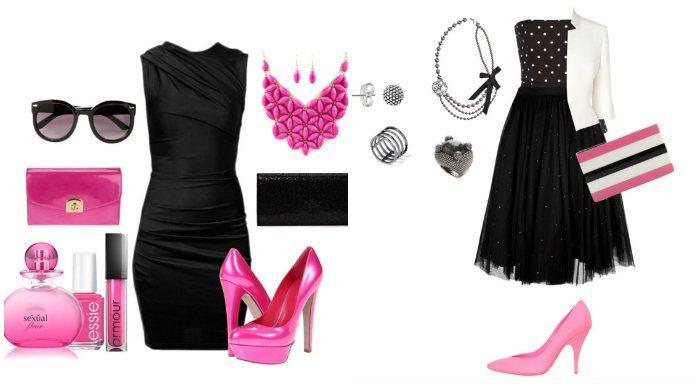 Сочетание черного короткого платья с розовыми туфлями