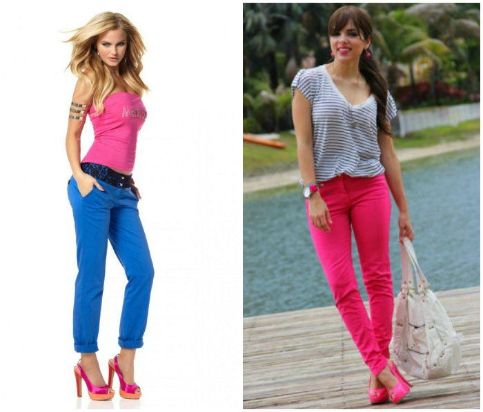 Сочетание ярких брюк с розовыми туфлями