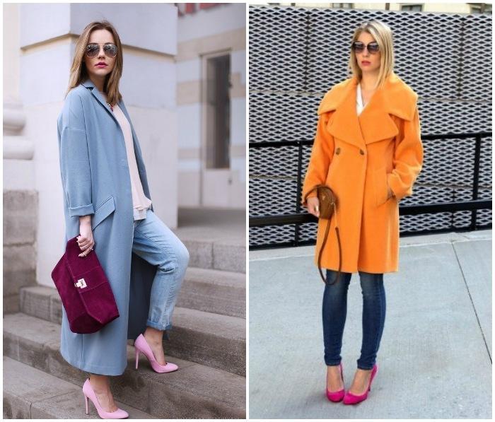 Образ с ярким пальто и розовыми туфлями