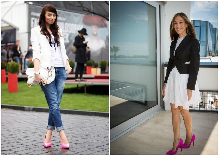 Розовые туфли с блейзером черного и белого оттенков