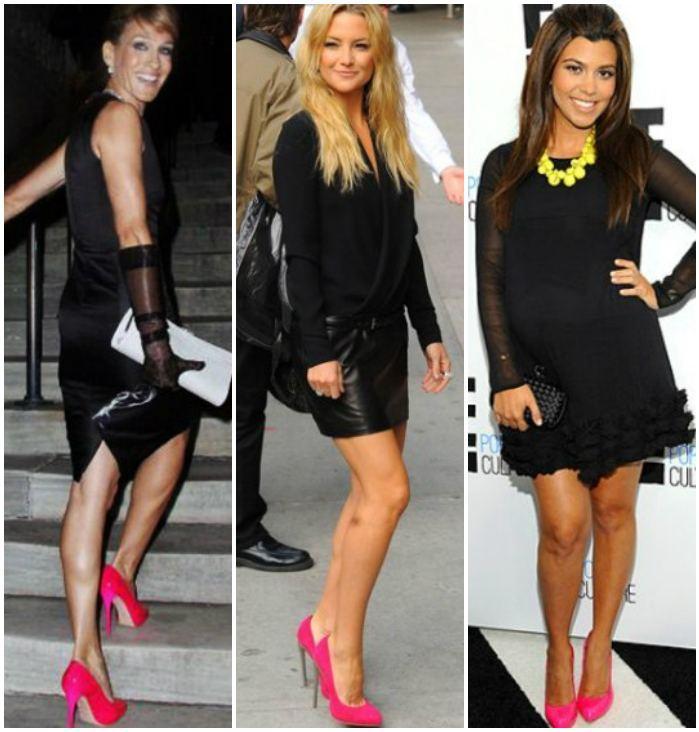 Сочетание розовых туфель с одеждой черного цвета