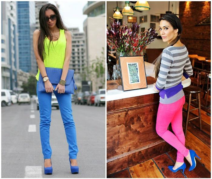 Образ с синими туфлями и яркими штанами