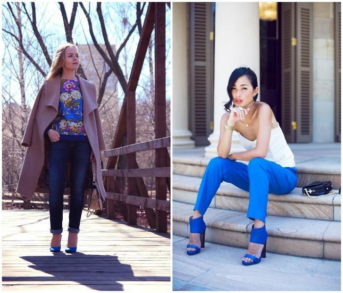 Модные образы с синими туфлями