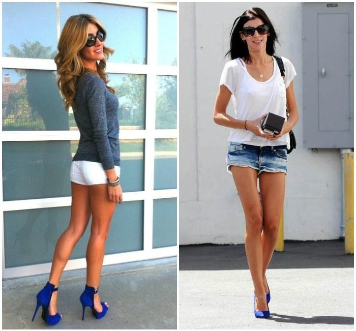 Образ с синими туфлями и короткими шортами