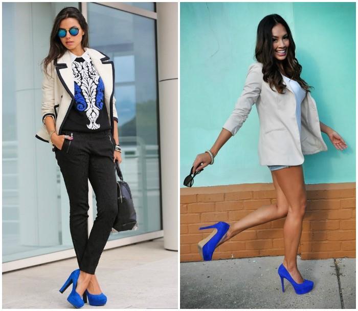 Сочетание одежды с замшевыми синими туфлями
