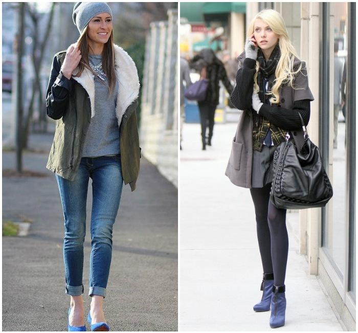 Теплый лук с синими туфлями