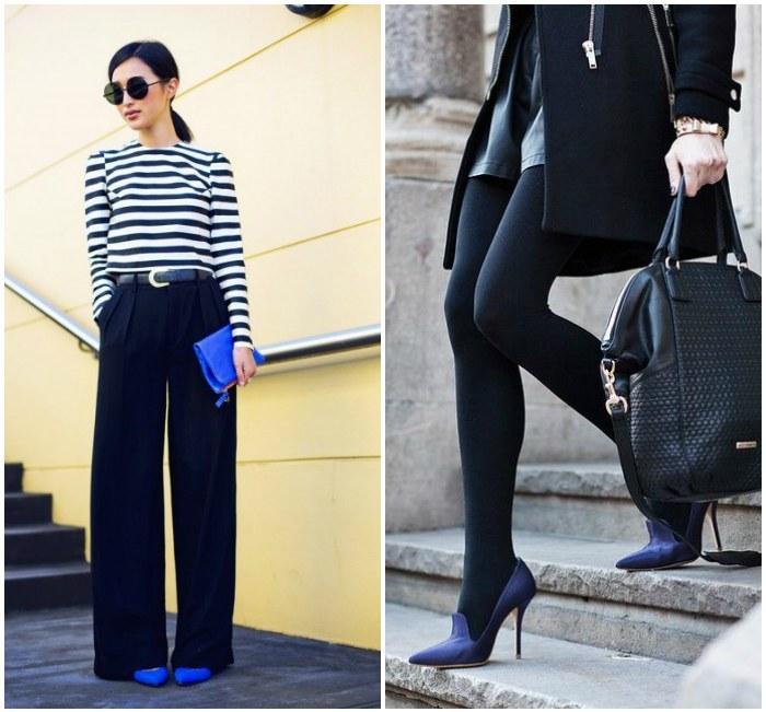 Классический образ в черном цвете с синими туфлями