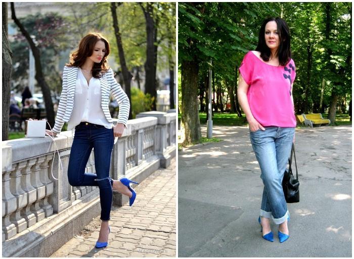 Повседневный лук с синими туфлями и джинсами