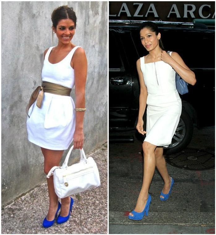 Образ с синими туфлями и белым платьем