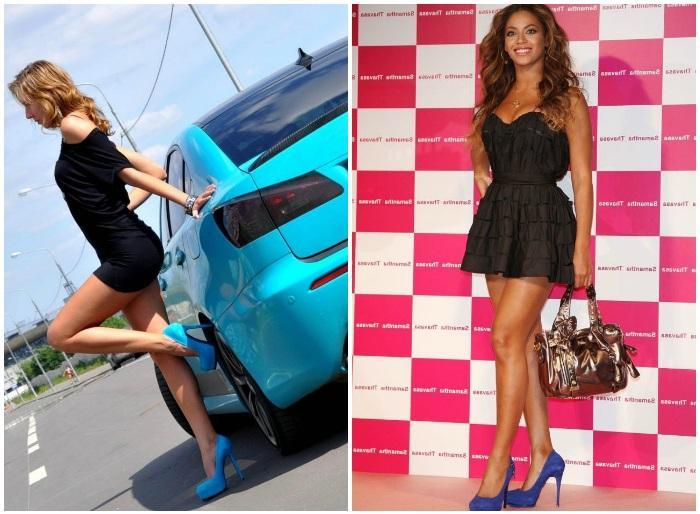 Образ с синими туфлями и черным коротким платьем