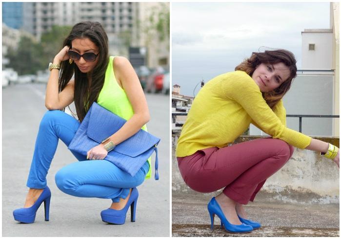 Яркие образы с синими туфлями