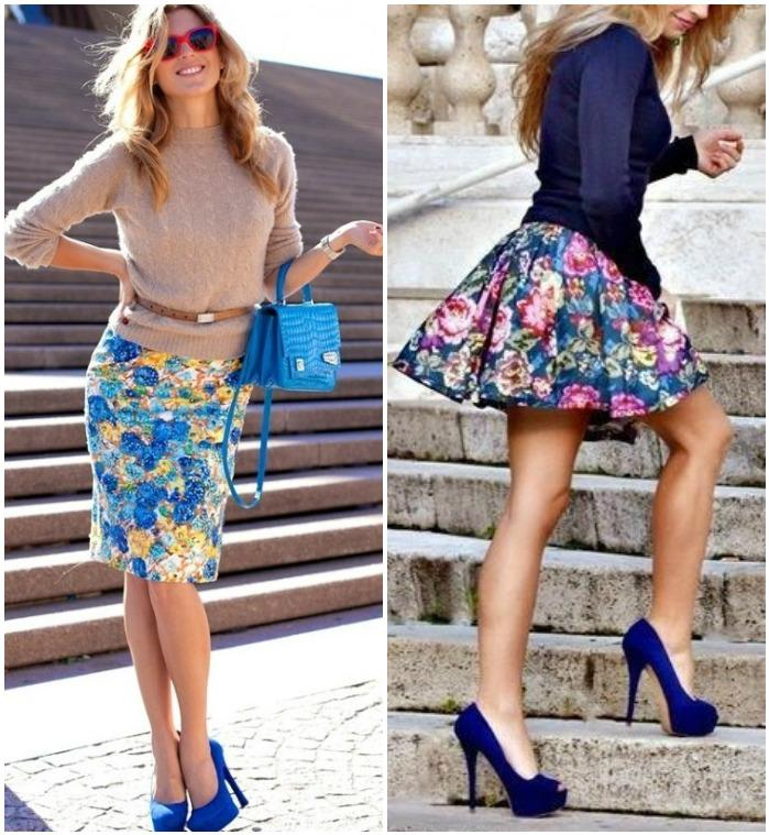 Образ с синими туфлями и цветочной юбкой