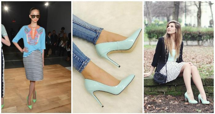 Туфли мятного цвета на моделях