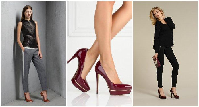 Стильные бордовые туфли на моделях
