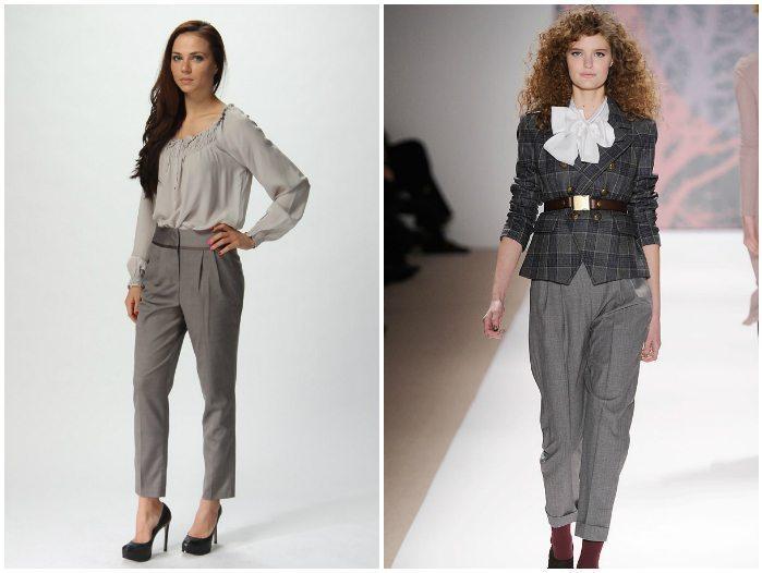 Серые укороченные брюки для девушек
