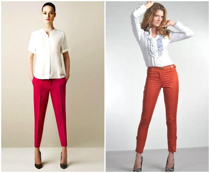 Укороченные брюки в красных тонах на моделях