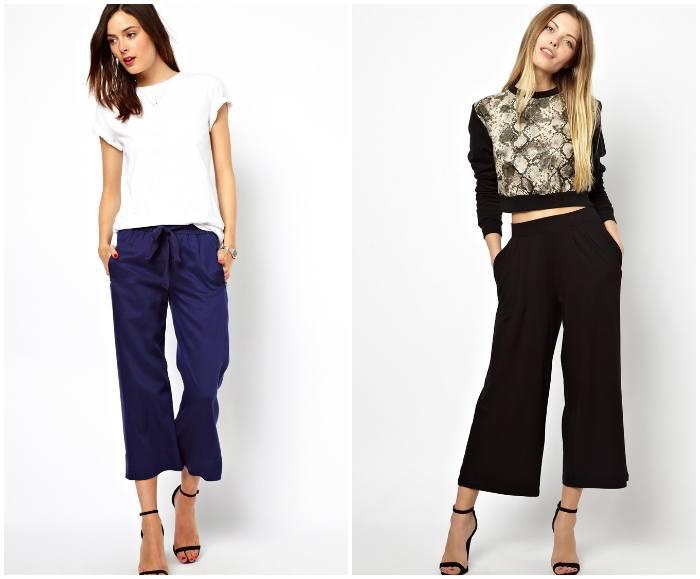 Укороченные брюки широкого фасона