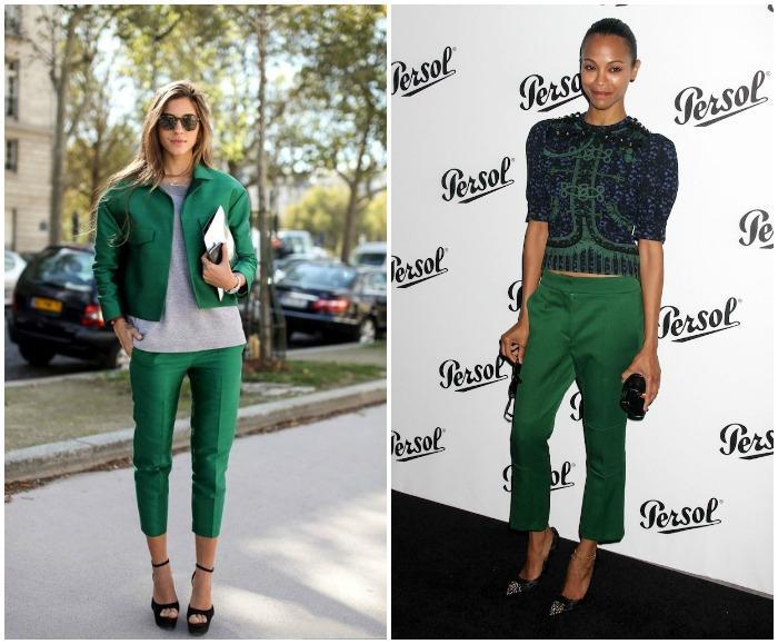 Укороченные брюки зеленого оттенка