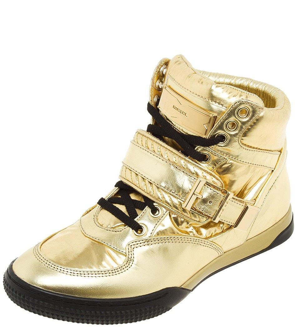 Высокие золотистые кроссовки