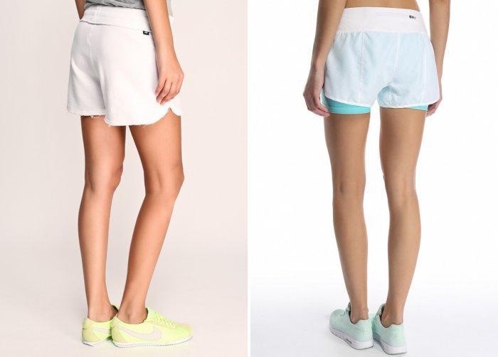 Белые спортивные шорты с кроссовками