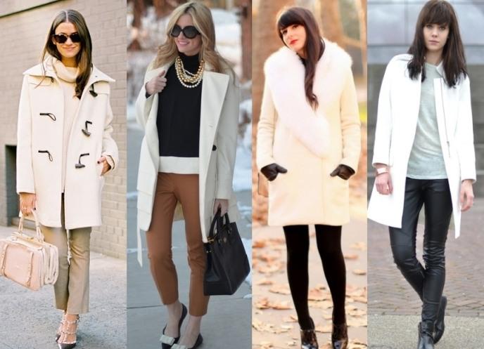 С чем носить белое пальто?