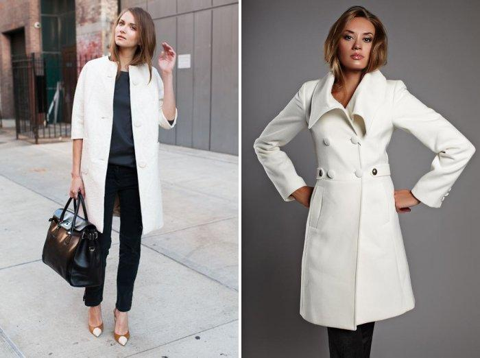 Белое пальто с классическими брюками