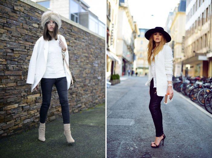 Белое пальто с кожаными штанами