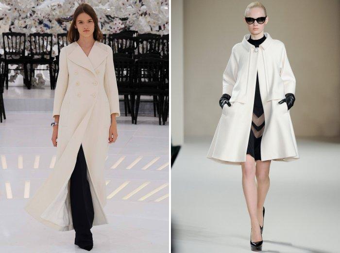 Белое пальто с туфлями на шпильке