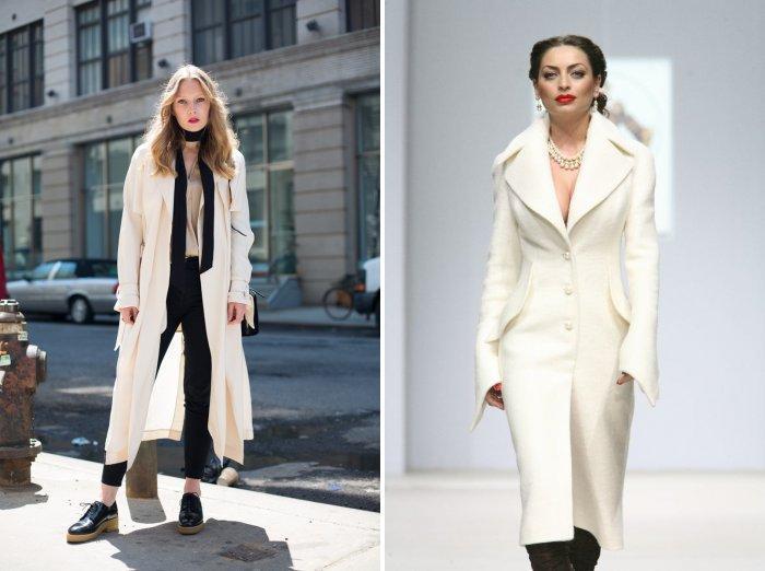 Белое пальто с накладными карманами