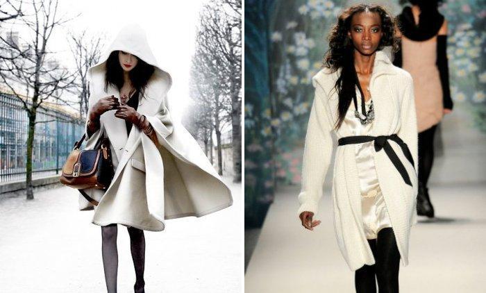 Белое пальто с пелериной