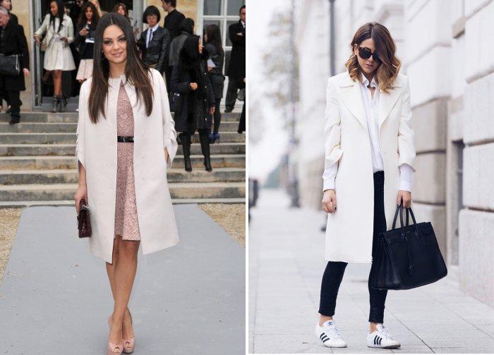 Широкое белое пальто