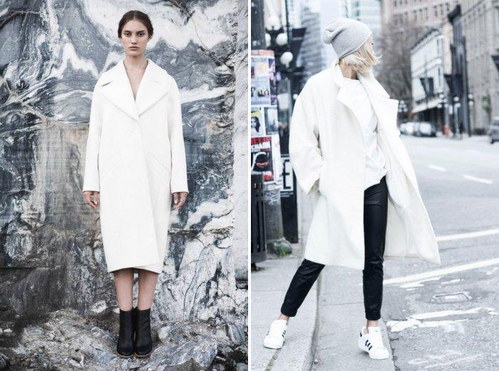Белое пальто фасона оверсайз