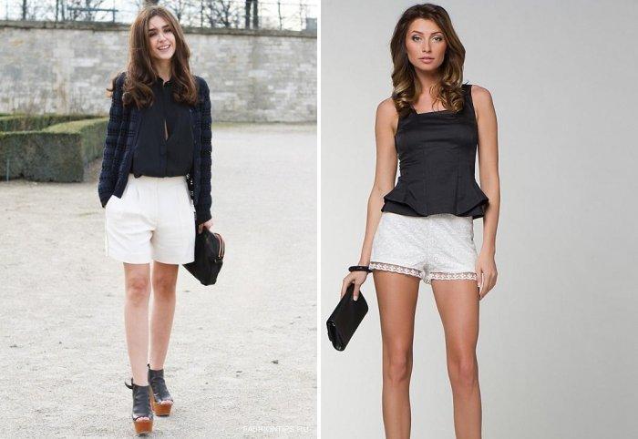 Белые шорты с черной блузой