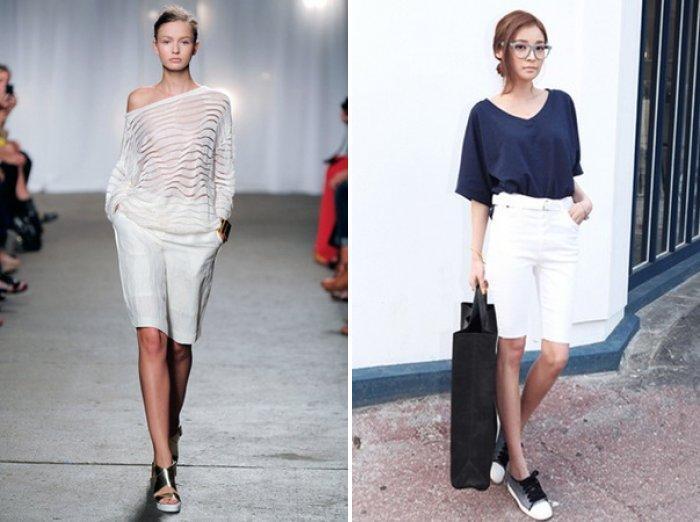 Белые шорты с длиной до колена