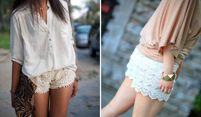 Стильные белые кружевные шорты