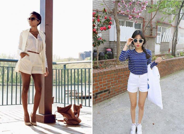 Модные белые шорты с завышенной талией