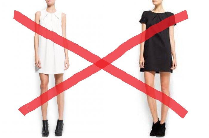 Не надевайте черные балетки с платьем прямого покроя