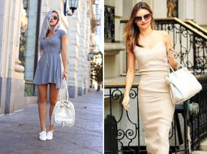 Белая сумка в сочетании с платьем