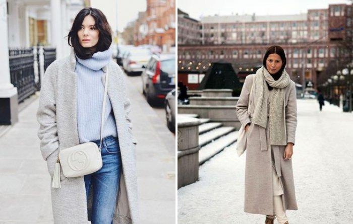 Белая сумка и пальто